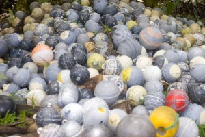 Buoys all confiscated from illegal fishing activities around Cocos Island